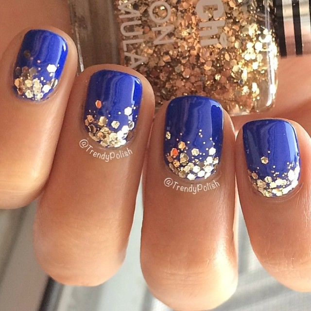 Blue Nails With Gold Glitter Design Idea