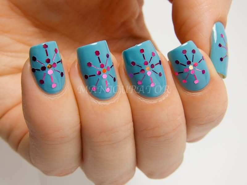 Blue Nails With Pink Dots Design Idea