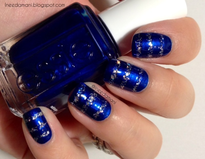 Blue Nails With Silver Glitter Stripes Nail Art