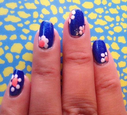 Blue Nails With White Polka Dots Flowers Nail Art