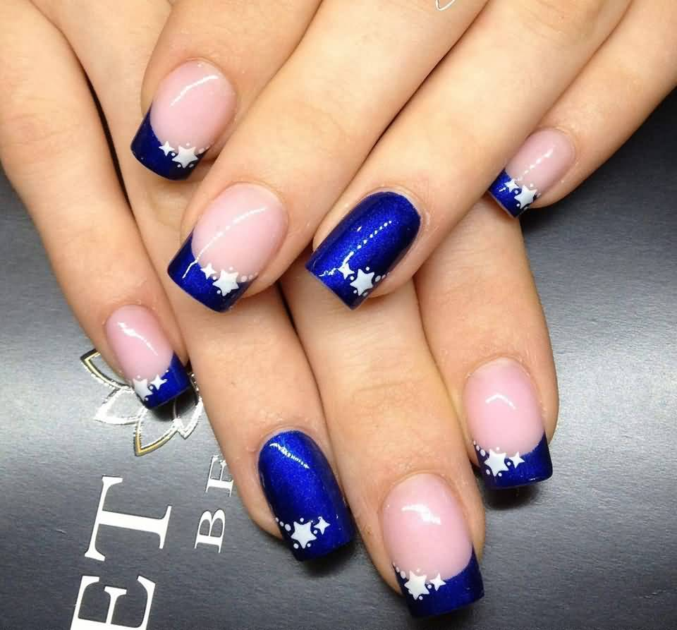 Blue Nails With White Stars Design Idea