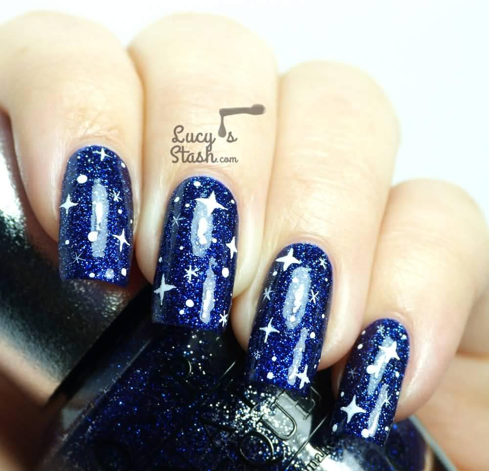 Nail designs stars choice image nail art and nail design ideas 52 most stylish blue nail art ideas blue nails with white stars nail art design idea prinsesfo Images