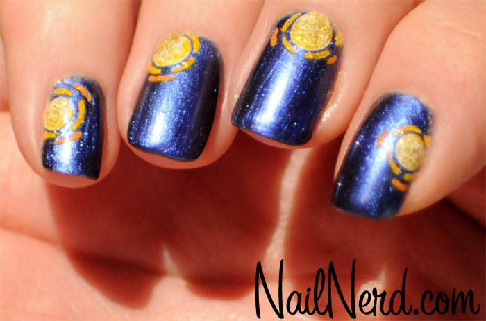 Blue Nails With Golden Design