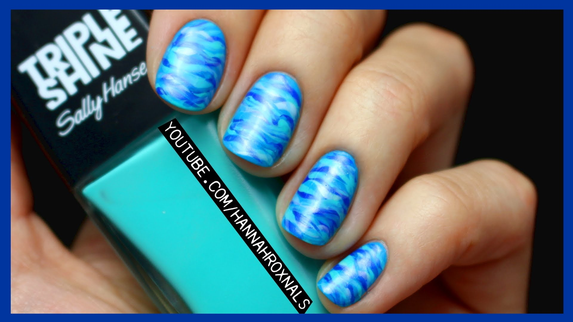 Blue Ocean Water Marble Nail Art
