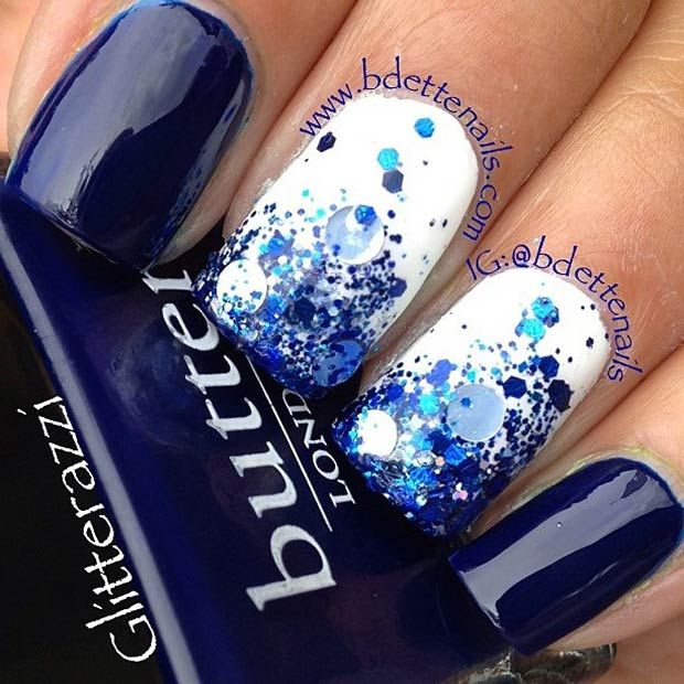 Blue Splash Nail Art Design
