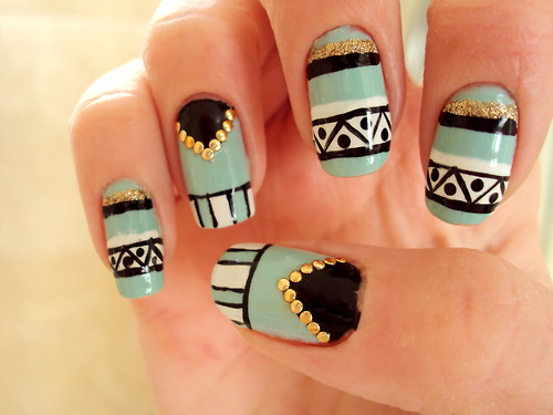 Blue Trendy Aztec Tribal Nail Art With Gold Caviar Beads Design Idea