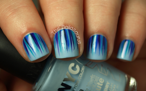 Blue Waterfall Nail Art