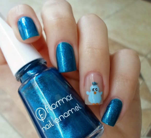 Blue Nails With Cute Penguin Design
