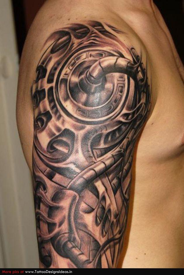 31d410c97 Brilliant Black And Grey Biomechanical Half Sleeve Tattoo