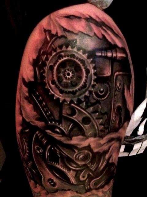 56 mechanical gear tattoos. Black Bedroom Furniture Sets. Home Design Ideas