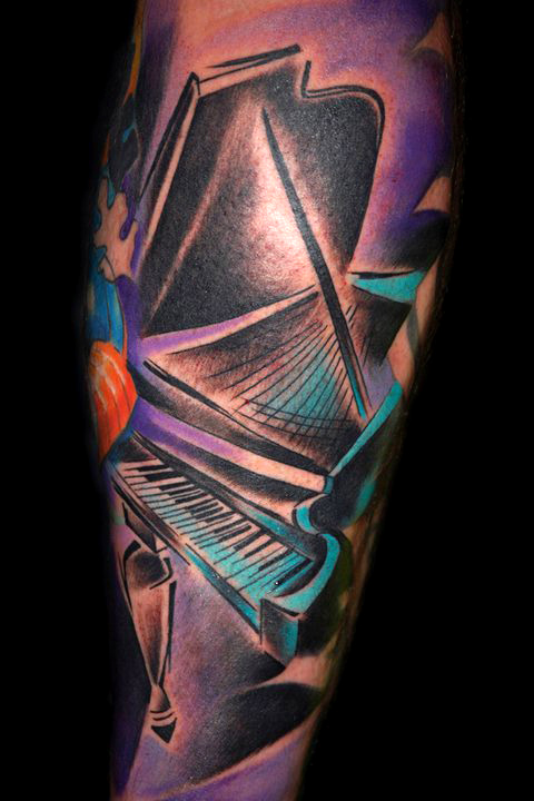 Classic Grand Piano Colorful Tattoo By Bugs