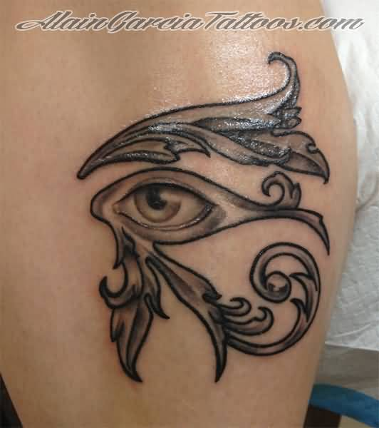 classic grey horus eye tattoo by alaingarciatattoos. Black Bedroom Furniture Sets. Home Design Ideas