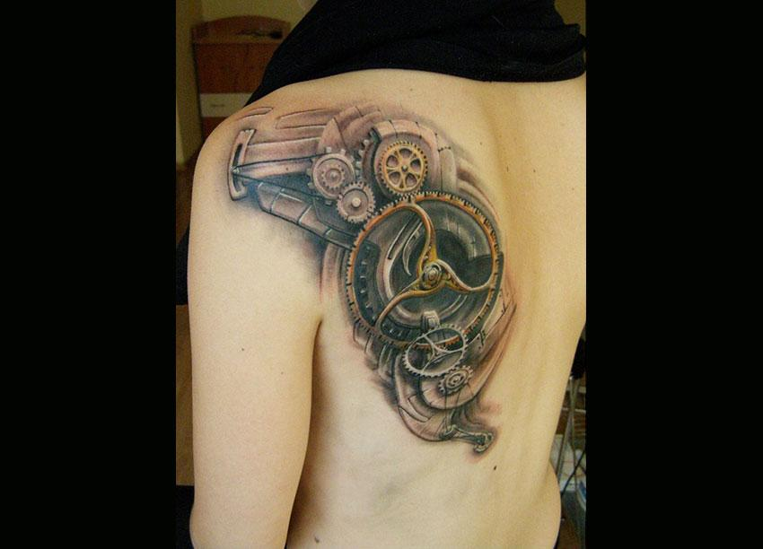 282c9696d Classic Mechanical Gears Tattoo On Back Shoulder