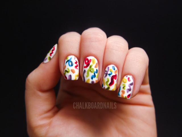 Colorful Confetti Design Birthday Nail Art - 50 Best Birthday Nail Art Designs