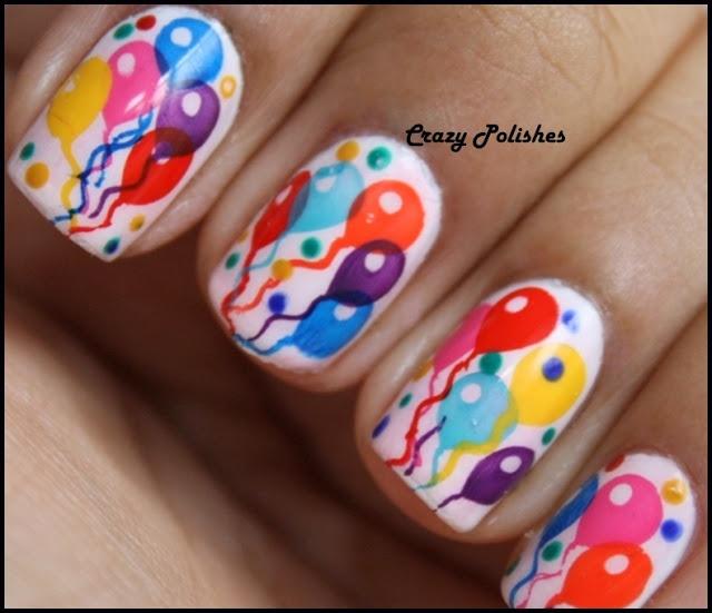 Colorful Balloons Birthday Nail Art Design