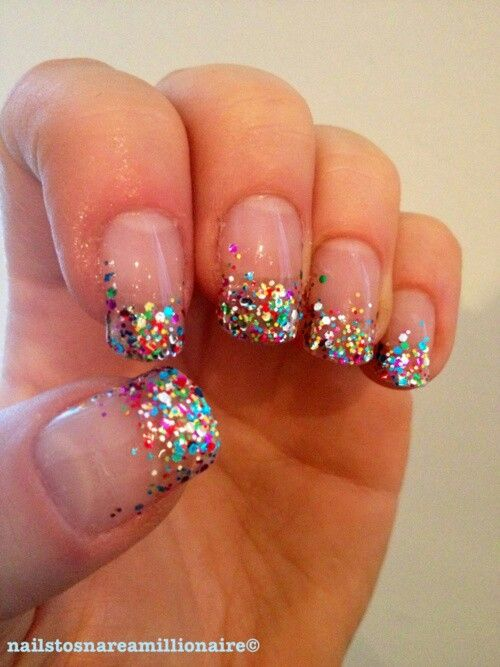 Colorful French Tip Glitter Nail Art Design Idea