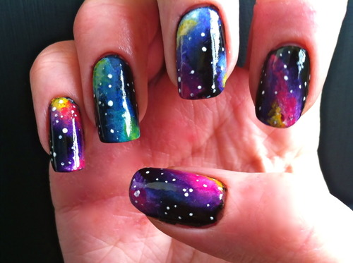 Colorful Galaxy Nail Art Design