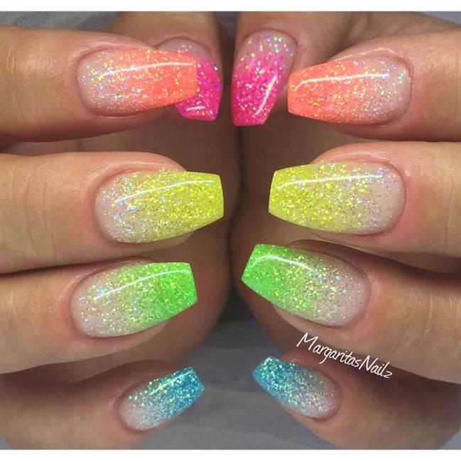 Colorful Nail Art: 57 Most Beautiful Glitter Nail Art Design Ideas