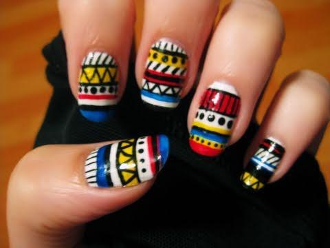 Colorful Tribal Nail Art Design Idea