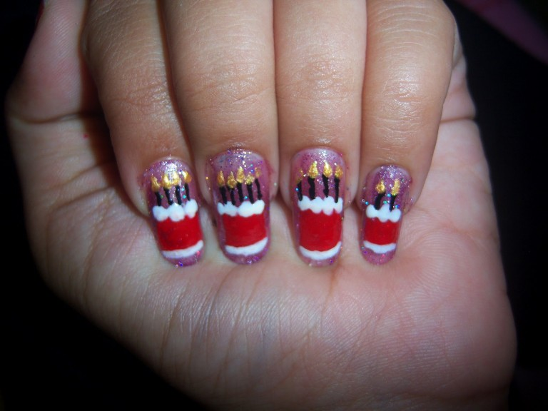 Cute Birthday Cake With Candles Nail Art