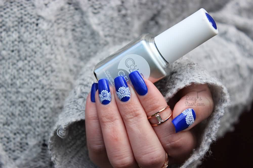 Cute Blue Nails With White Lace Design Nail Art
