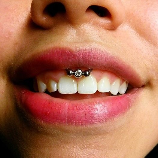Labret And Frenulum Piercing With Circular Barbell