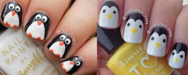 Cute Penguins Cartoon Nail Art Design - 60+ Most Beautiful Cartoon Nail Art Design Ideas