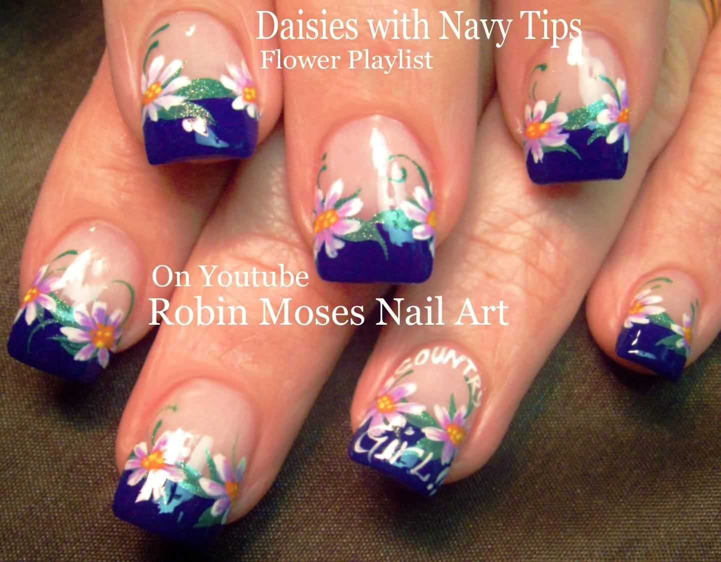Daisies With Navy Blue Tip Design Idea