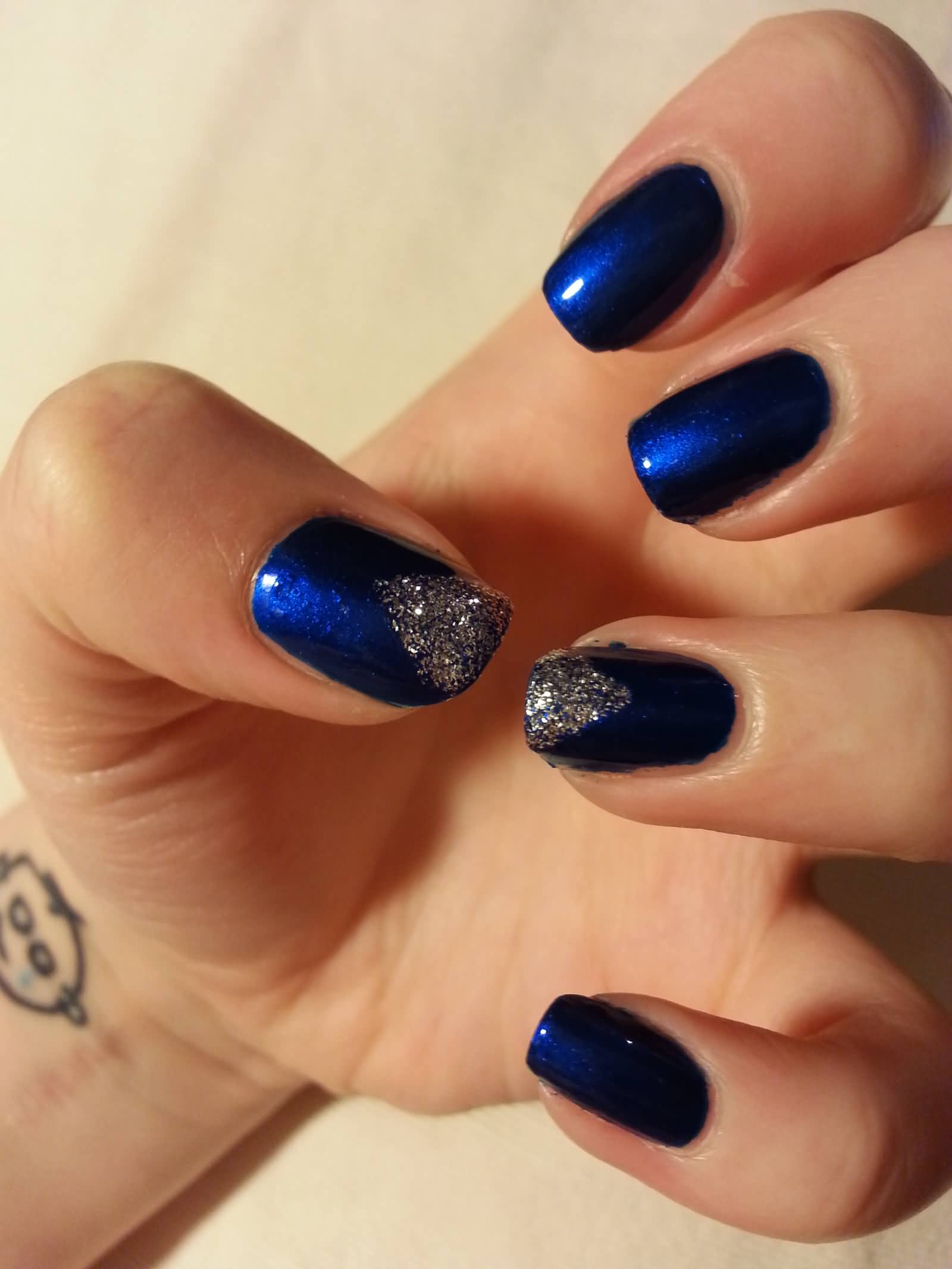 82 best blue and silver nail art design ideas dark blue nails with silver triangle design nail art prinsesfo Image collections