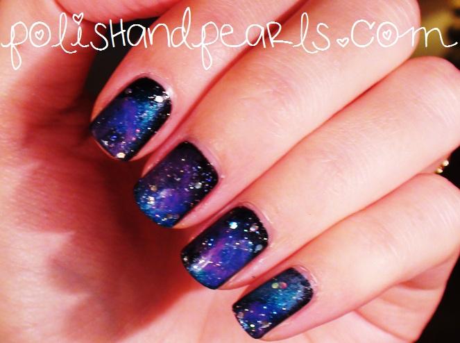 Dark Galaxy Nail Art Design