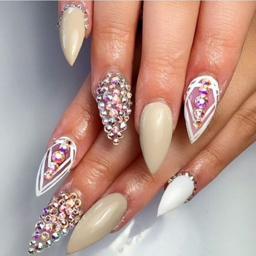 Diamonds Nail Art Design Ideas: 35+ Cool Stiletto Nail Art Designs