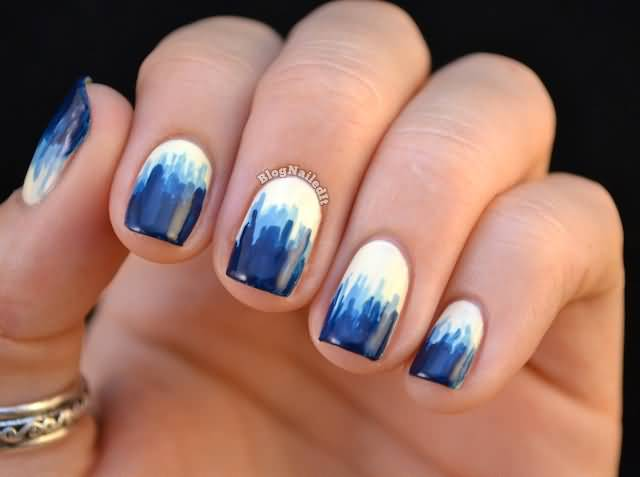 50 best blue nail art design ideas dripping blue paint nail art design prinsesfo Choice Image