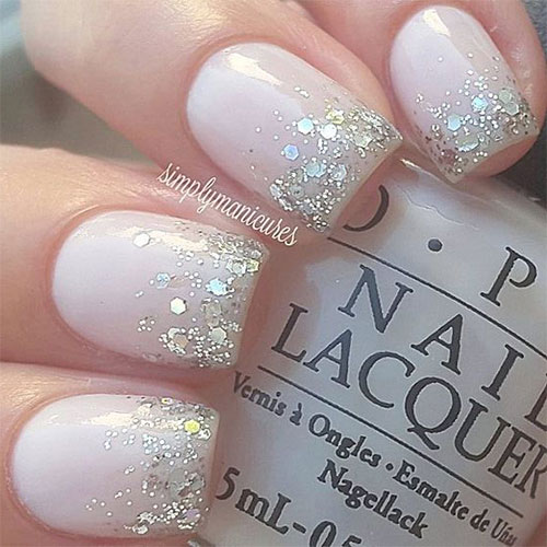 White Nail Polish With Glitter Tips Hession Hairdressing