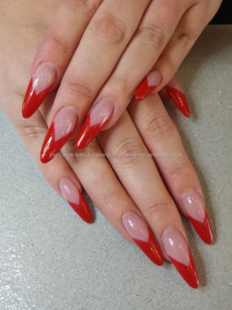 French Tip Red Stiletto Nail Art