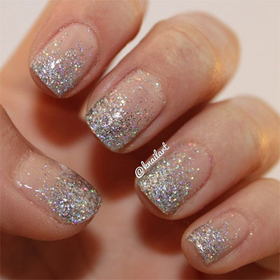 French Tip Silver Glitter Nail Art Design
