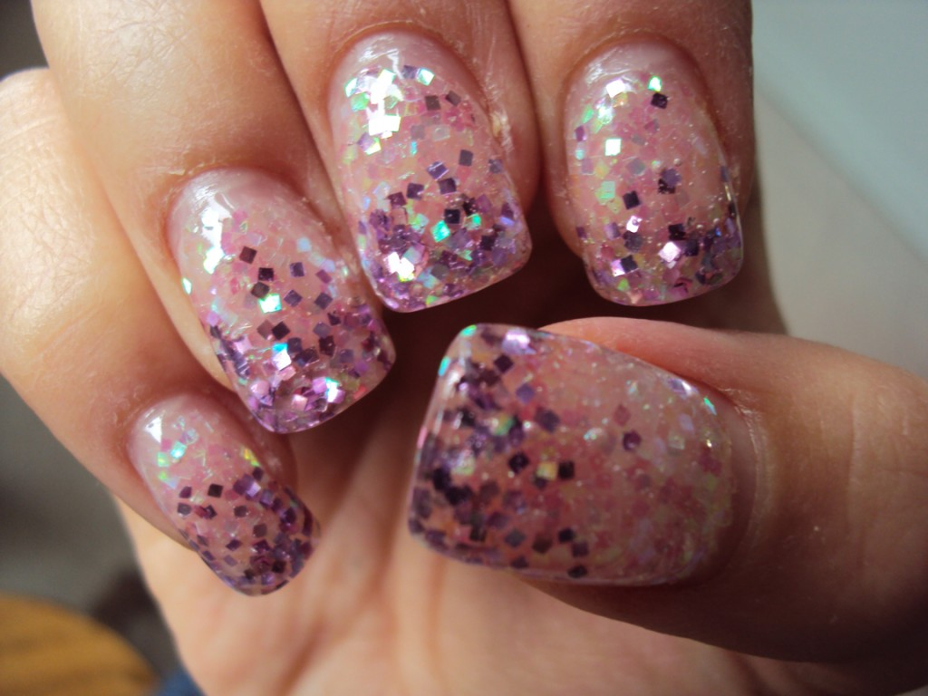 Glitter Gel Nail Art Design Idea