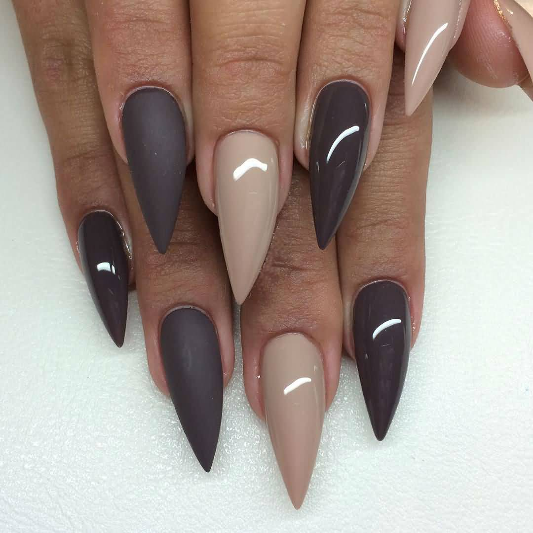 55 most stylish matte stiletto nail art designs - Matt nageldesign ...