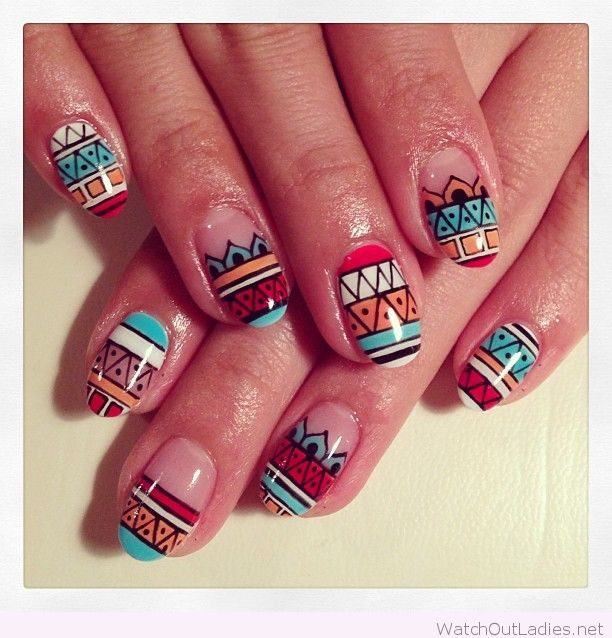 Glossy Tribal Print Nail Art Design Idea - 65+ Cool Tribal Nail Art Designs