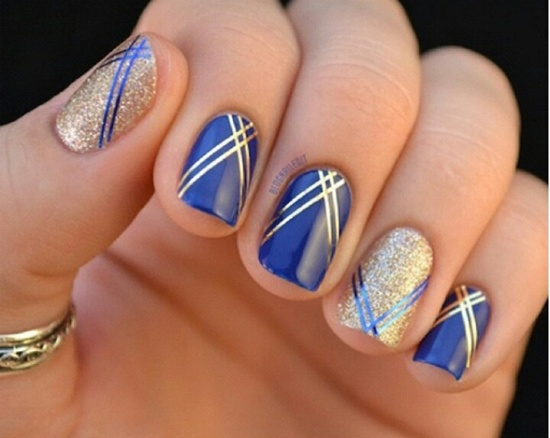81 cool royal blue nail art design ideas for trendy girls gold and royal blue cross lines design nail art prinsesfo Choice Image