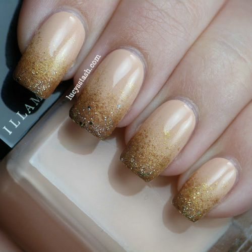 Gold Glitter Nail Art Design Idea - 60 Most Beautiful Glitter Nail Art Ideas