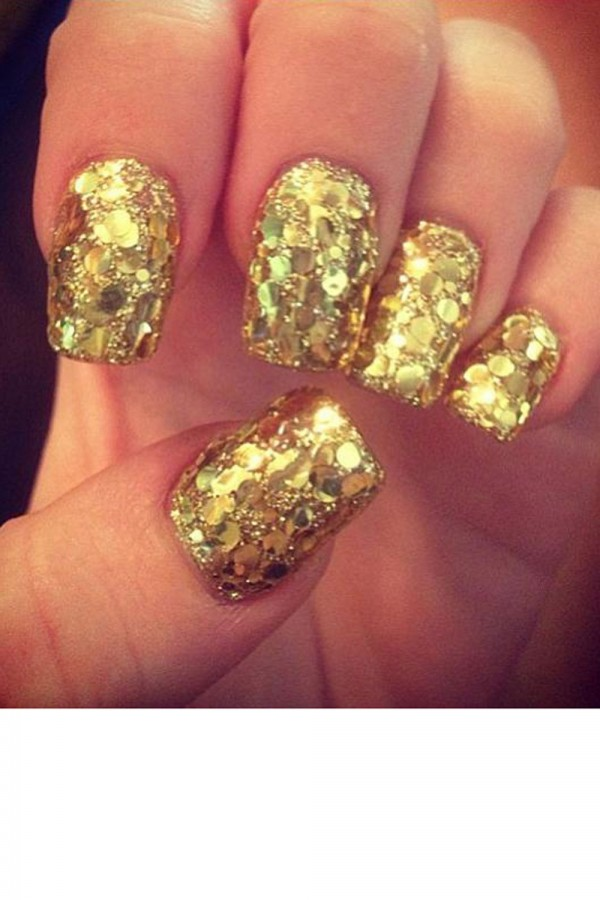 Gold Glitter Nail Art - 60 Most Beautiful Glitter Nail Art Ideas