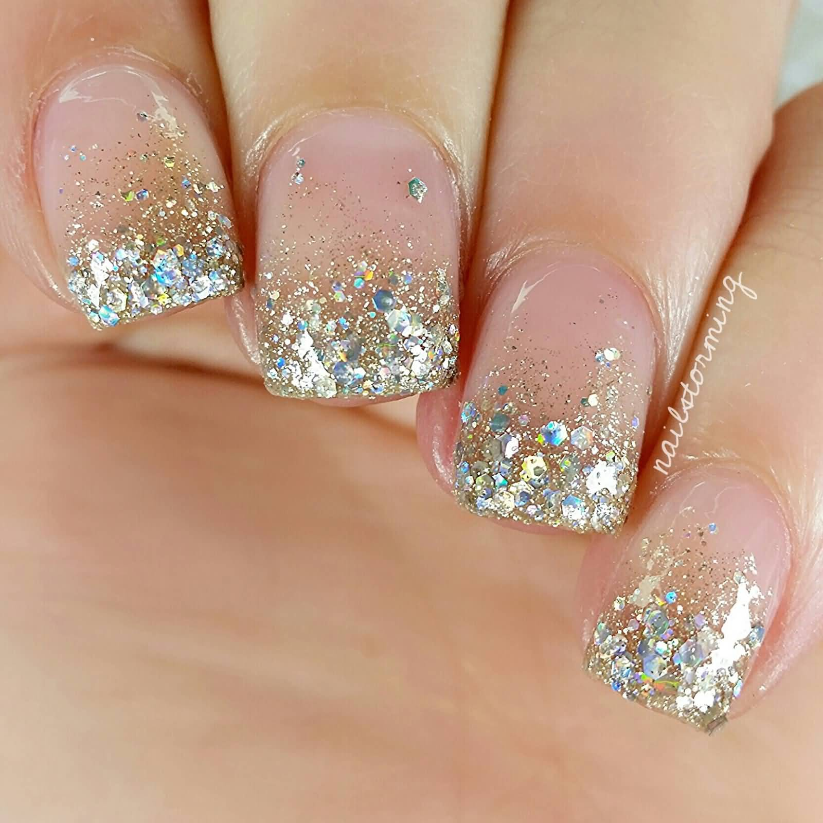 Gold Glitter Tip Nail Art Design