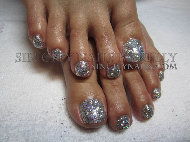 50 best toe glitter nail art design ideas gorgeous silver glitter gel toe nail art prinsesfo Images