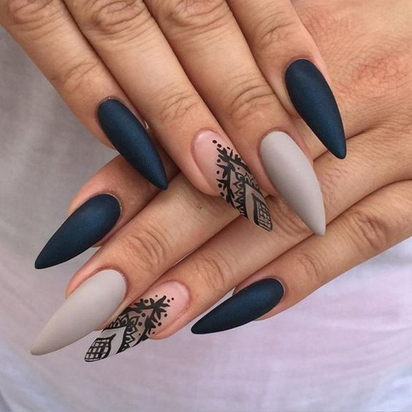 55 most stylish matte stiletto nail art designs gray and black matte stiletto nail art prinsesfo Image collections