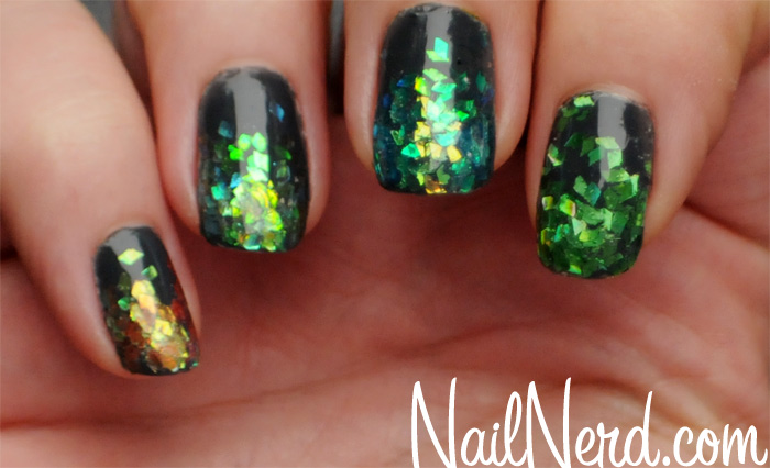 57 most beautiful glitter nail art design ideas green and gold glitter nail art prinsesfo Image collections