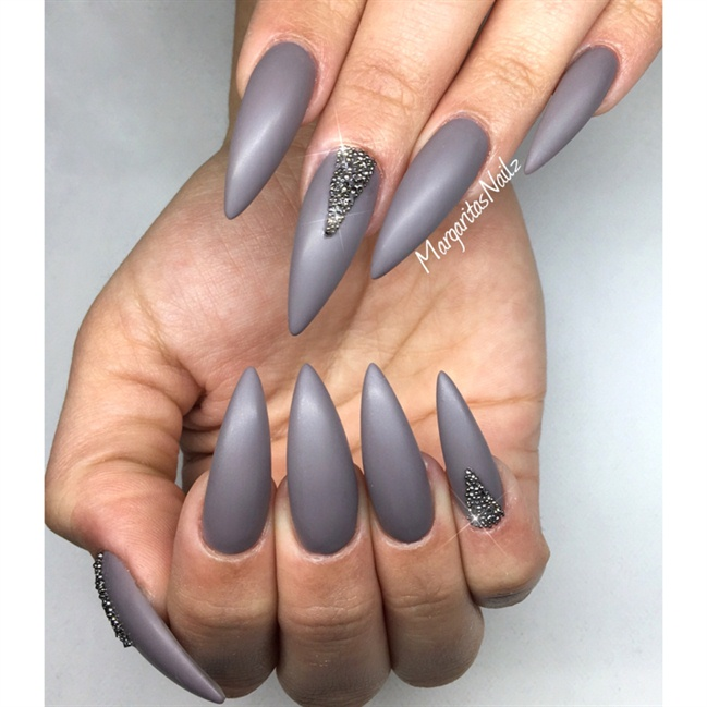 55 best stiletto nail art design ideas grey matte stiletto nail art design idea prinsesfo Images