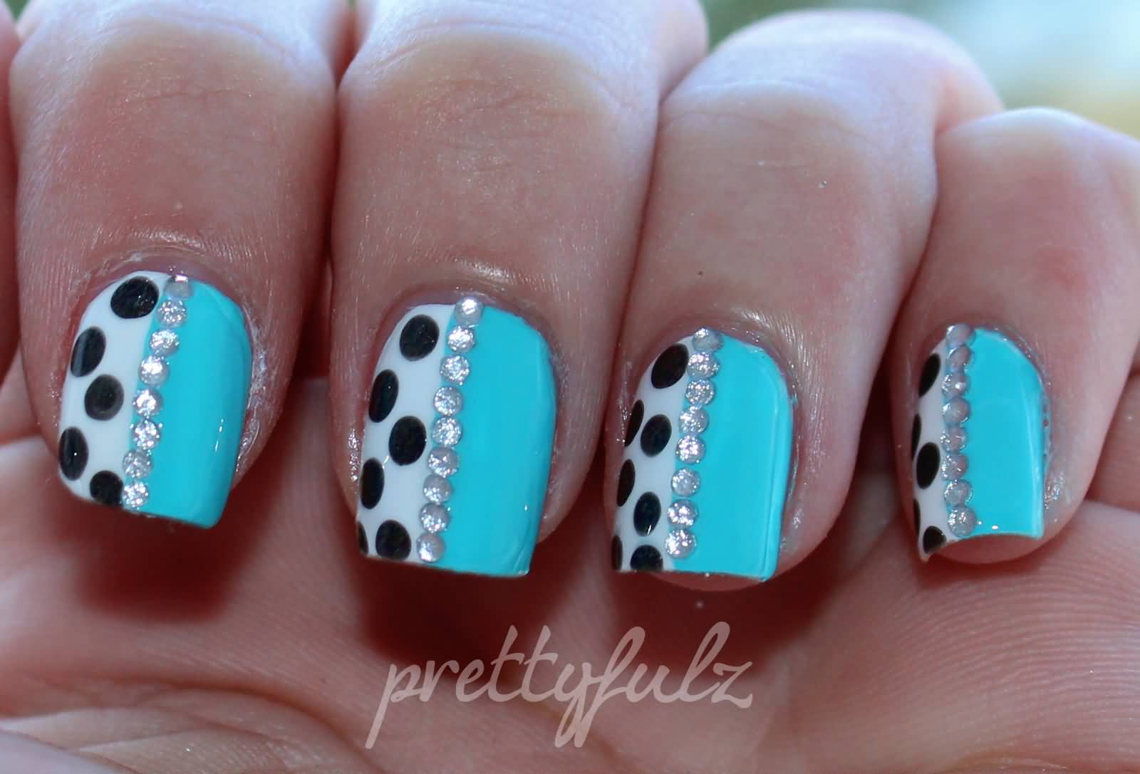 50 best blue nail art design ideas half blue with black and white polka dots nail art prinsesfo Images