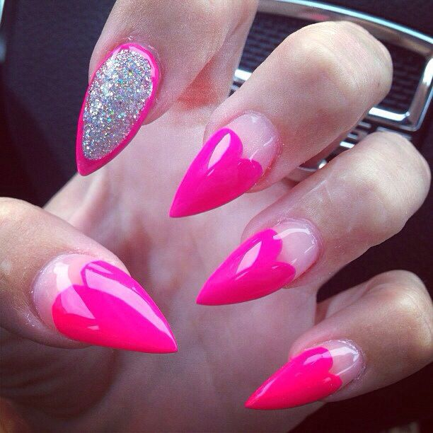 42 most beautiful pink stiletto nail art design ideas for teen girls heart pink stiletto nail art with silver glitter design prinsesfo Image collections