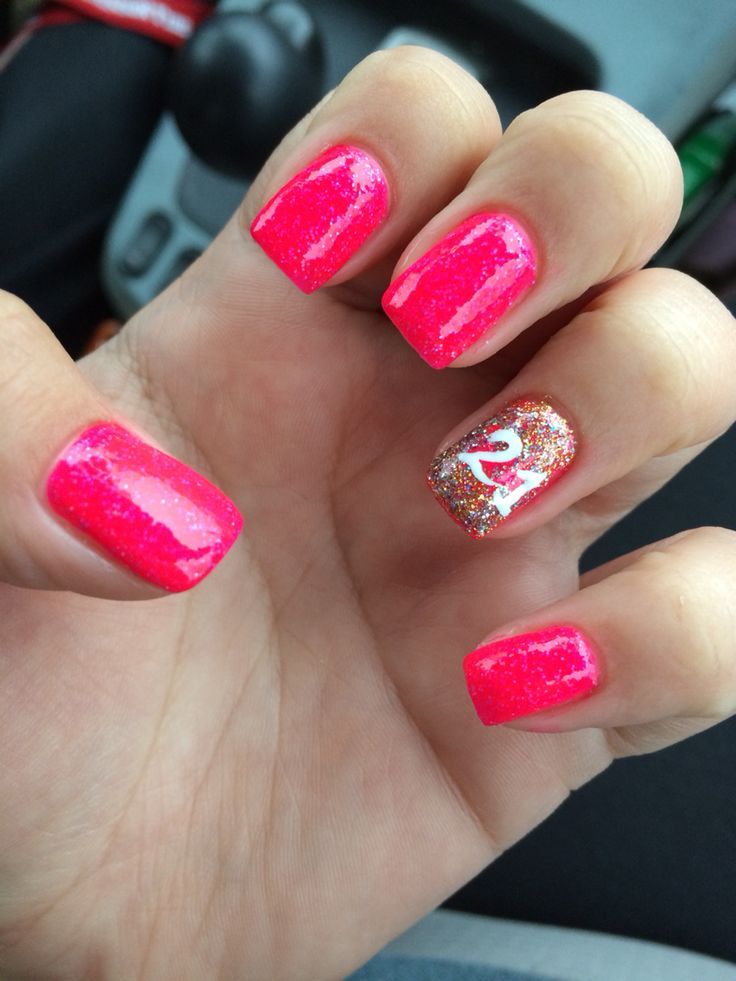 Hot Pink Nails With Accent Glitter 21st Birthday Nail Art