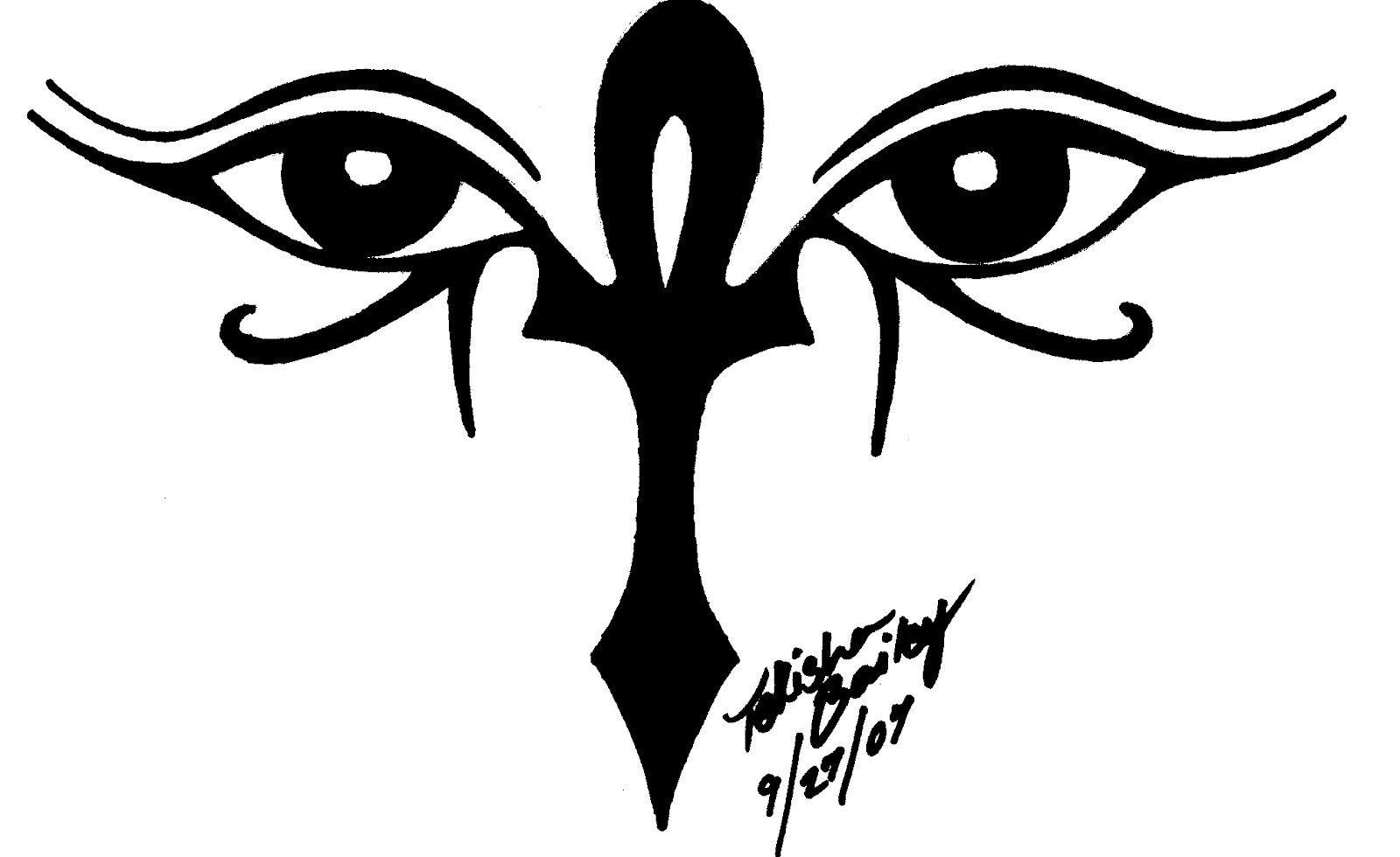 impressive black ankh and eyes of horus tattoo design by rainbowmaker. Black Bedroom Furniture Sets. Home Design Ideas